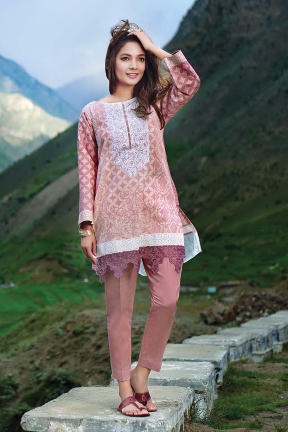 Light Pink suit by gul ahmed for winter