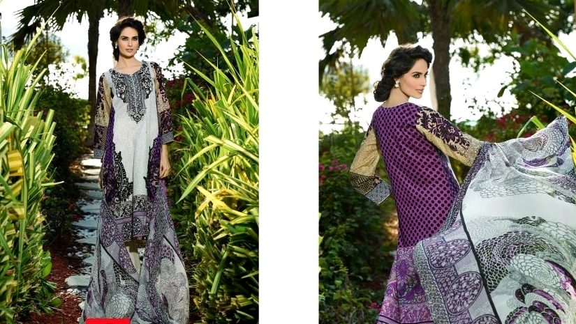Embroidered Sleeves Lawn Attire By HSY
