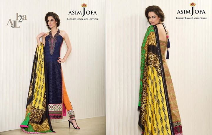 Multi Color Lawn Attire By Asim Jofa Luxury Collection 2017