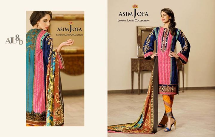 Printed Sleeves Dress By Asim Jofa Luxury Lawn Collection 2017