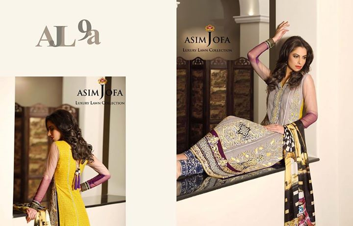 Grey Color Outfit By Asim Jofa Lawn Collection 2017