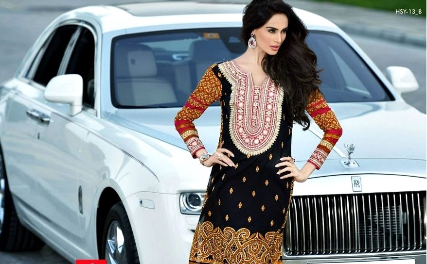 Red And Black Summer Lawn Outfit By HSY