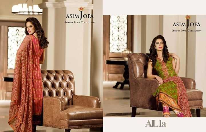 Green Summer Dress By Asim Jofa 2017