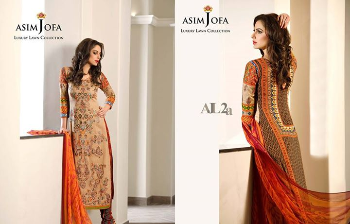 Orange Summer Attire By Asim Jofa Lawn Collection 2017