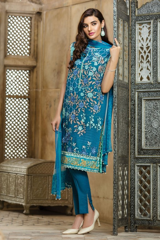 Blue Color Dress By Khaadi For Eid 2017