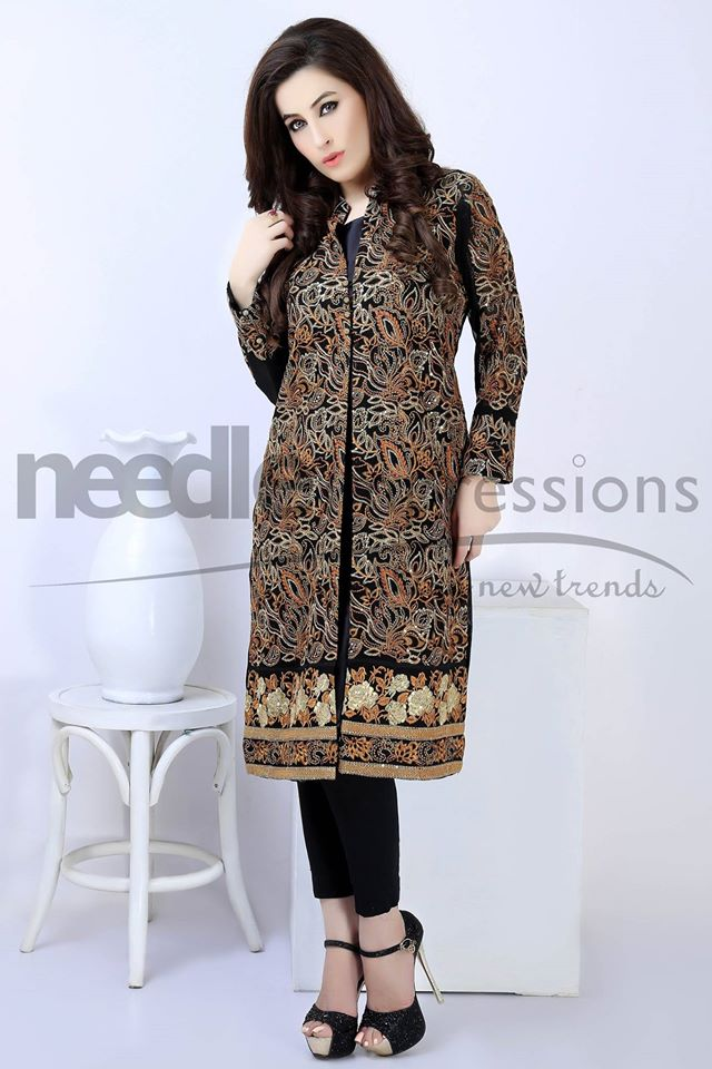 Needle Impressions Brown flowers Dress on Eid