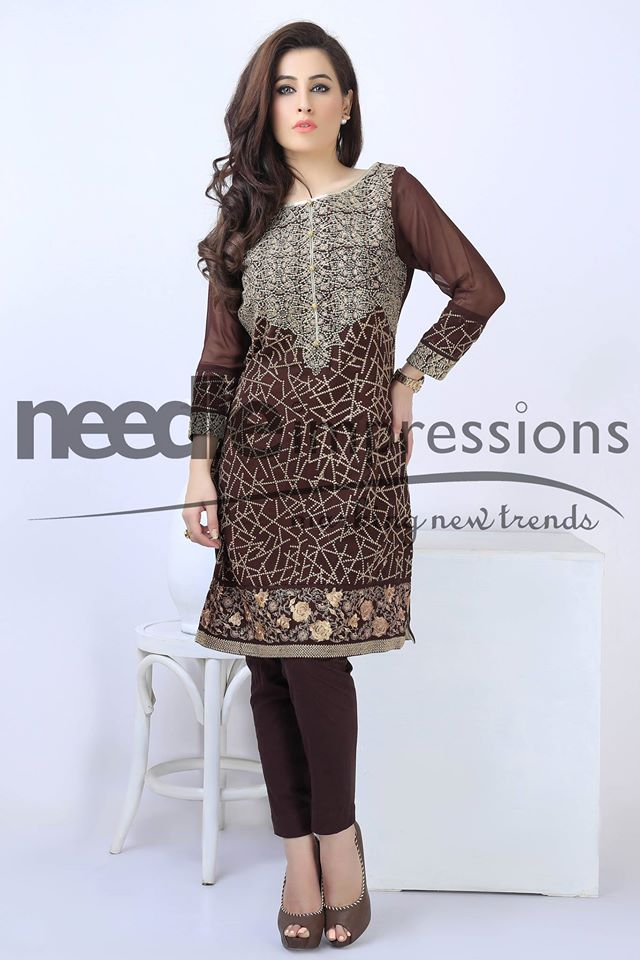 Brown party dress by Needle impressions