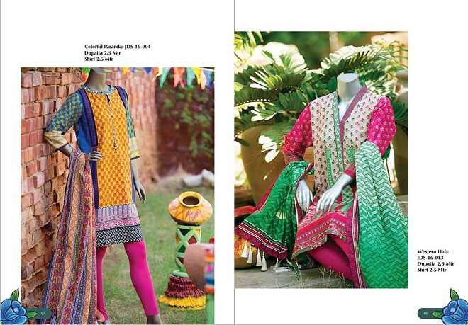 Junaid Jamshed Lawn Colorful Paranda and Western Hob