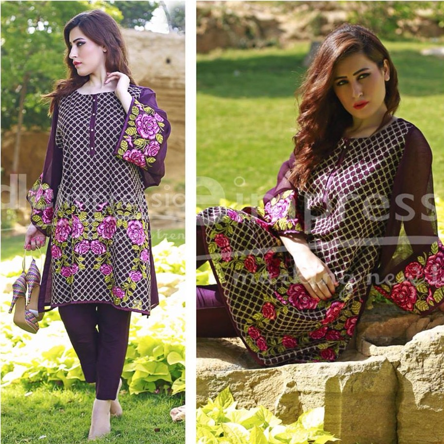 Needle Impressions Criss cross Embroidered Dress For Eid