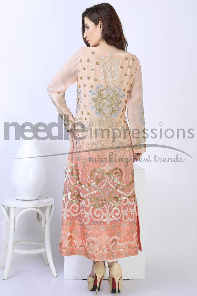 Needle Impressions Peach outfit for eid