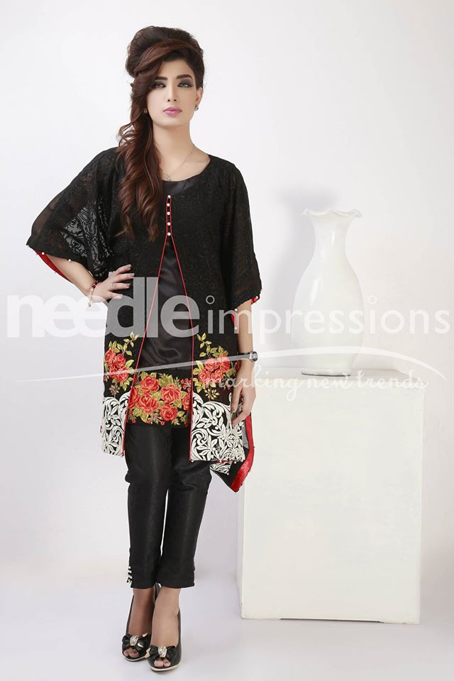 Floral embroidery formal dress by Needle impressions