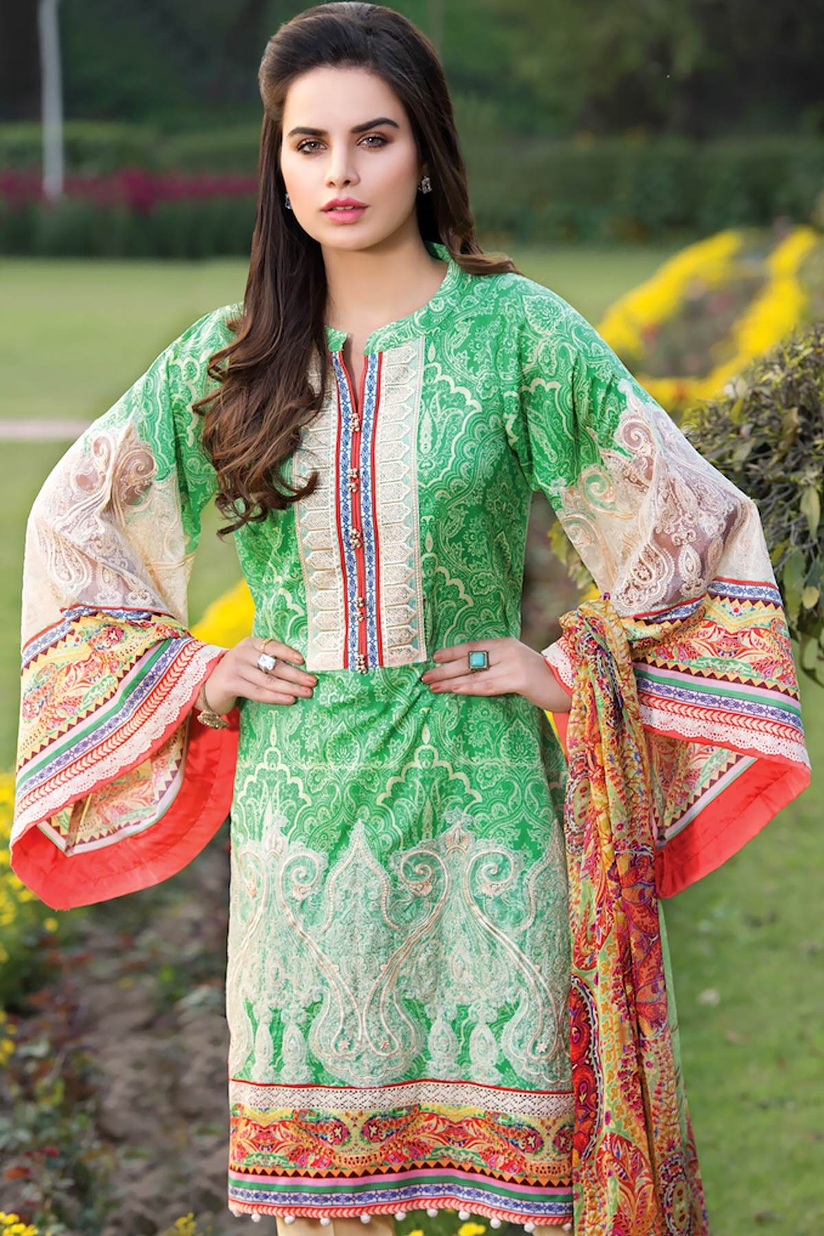Zeniya Green Lawn Attire