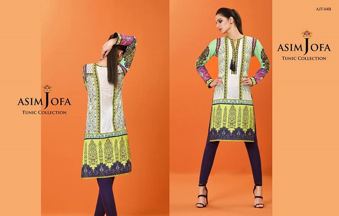 Green and purple contrasting tunic by Asim Jofa