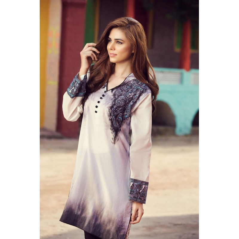 Grey Silk Shirt By Resham Ghar For Eid