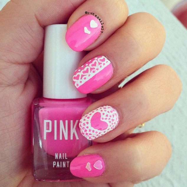 Hot Pink Nail Art For Eid