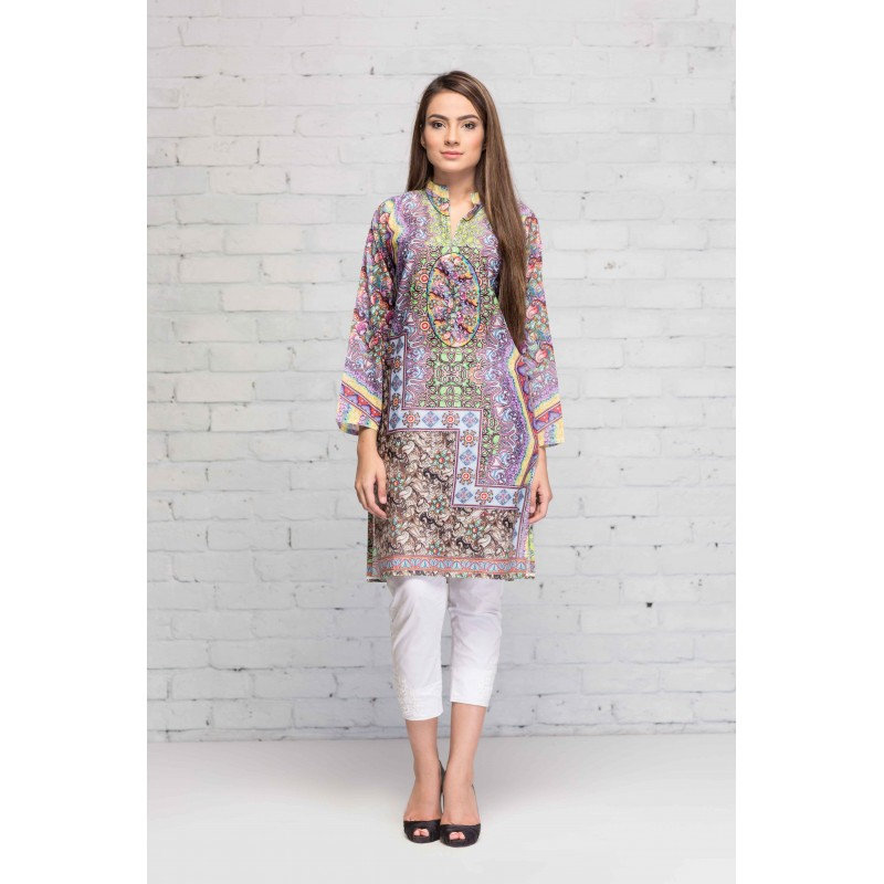 Mosaic Printed Shirt By Resham Ghar For Eid