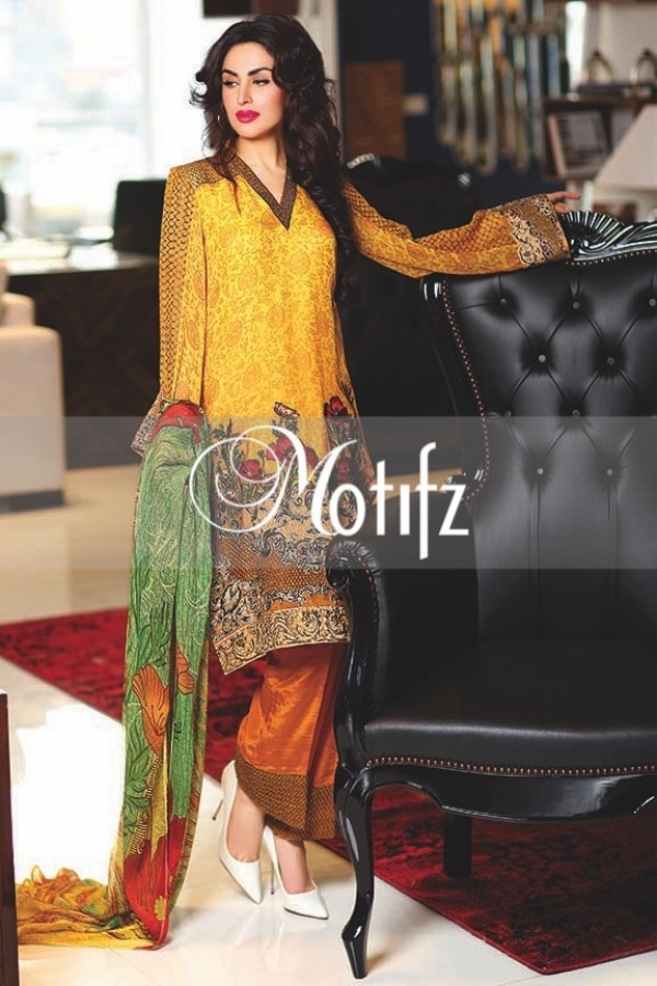 Motifz mary gold crinkle chiffon suit