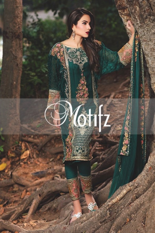 Motifz turqiouse embroidered dress
