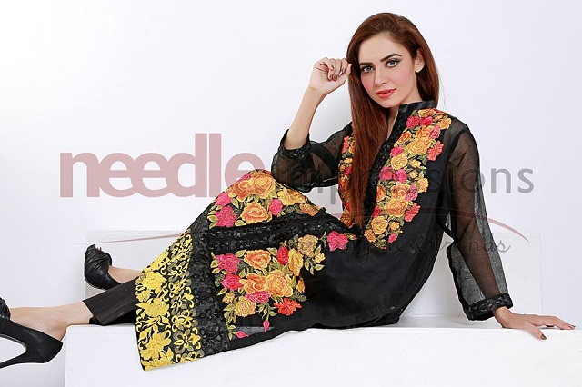 Black Embroided Shirt Needle impressions Chiffon collection