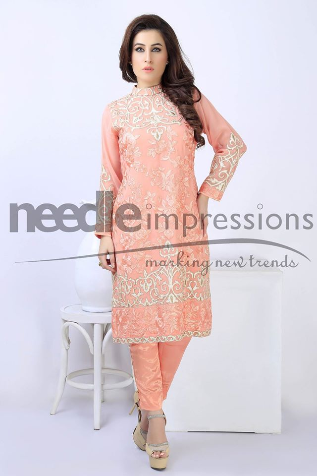 Needle impressions embroidered chiffon collection