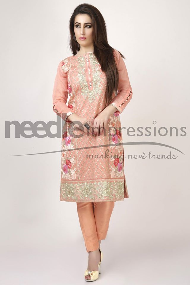 Needle Impressions Peachy Pearl Sleeves Dress For Eid