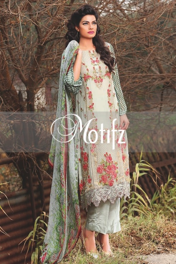Pearl grey embroidered motifz dress