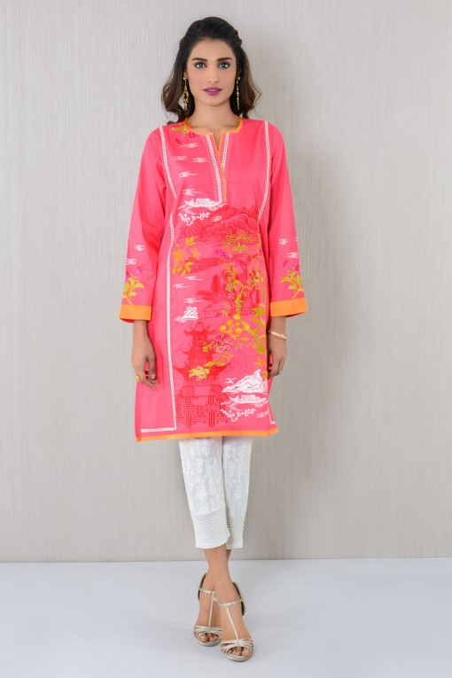 Pink Embroidered Kurta By Khaadi For Eid 2017