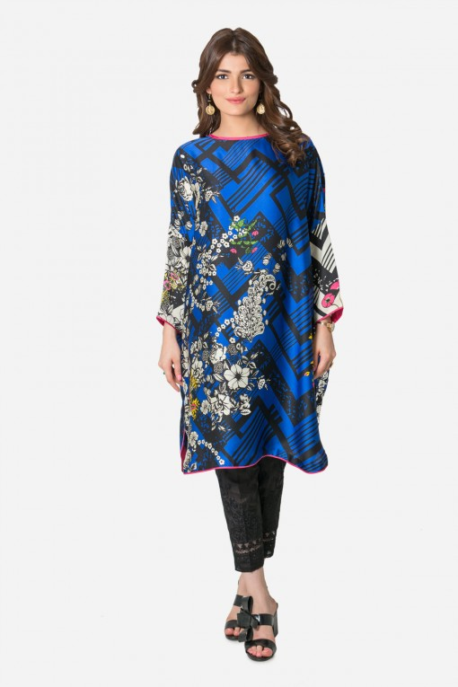 Printed Silk Top By Khaadi For Eid 2017