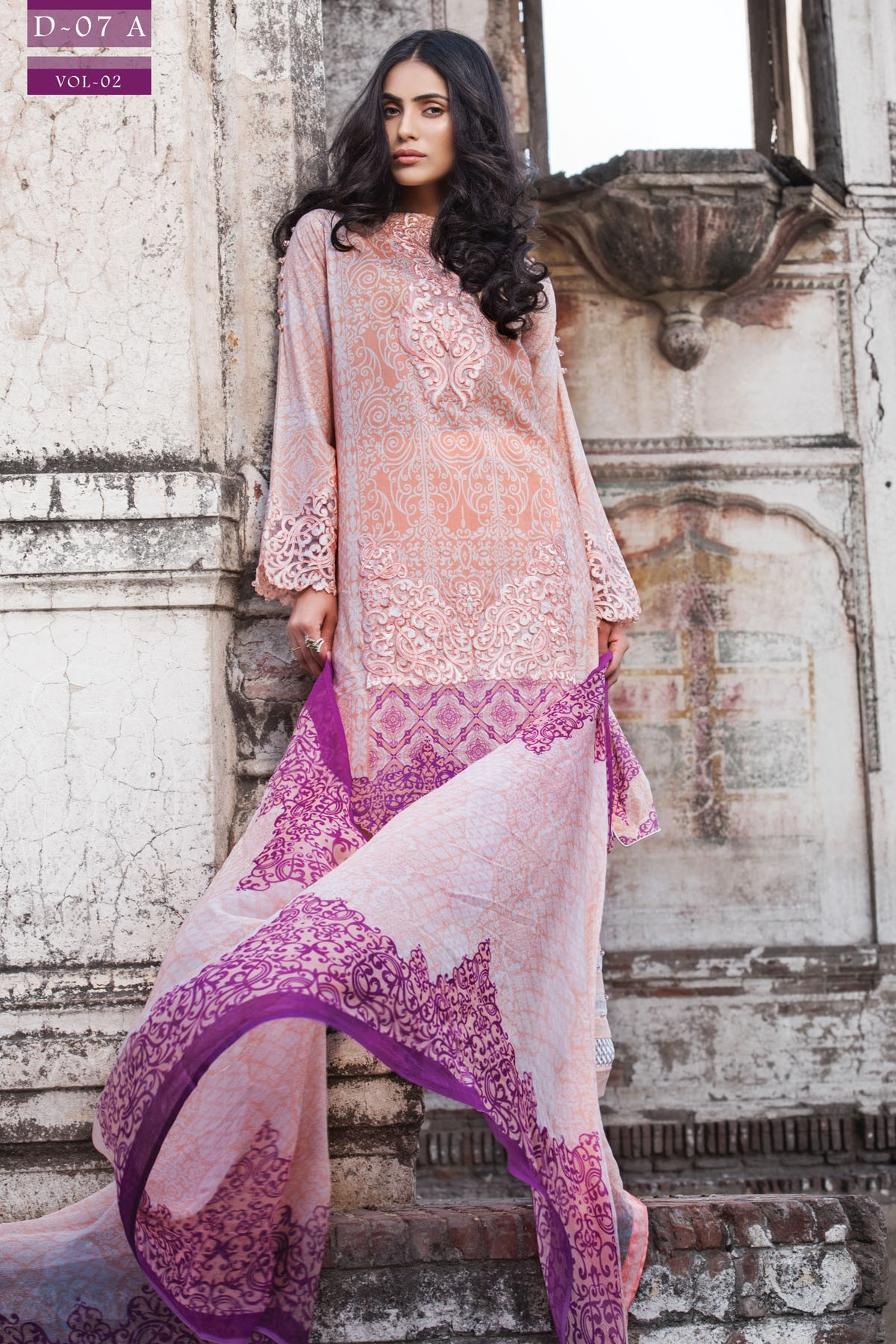 Zeniya Purple Embroidered Lawn Outfit