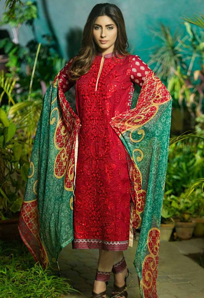 Rabea red and green summer embroidered dress