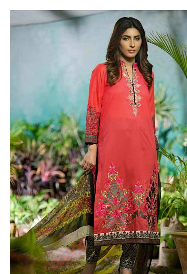 Rabea red summer embroidered design
