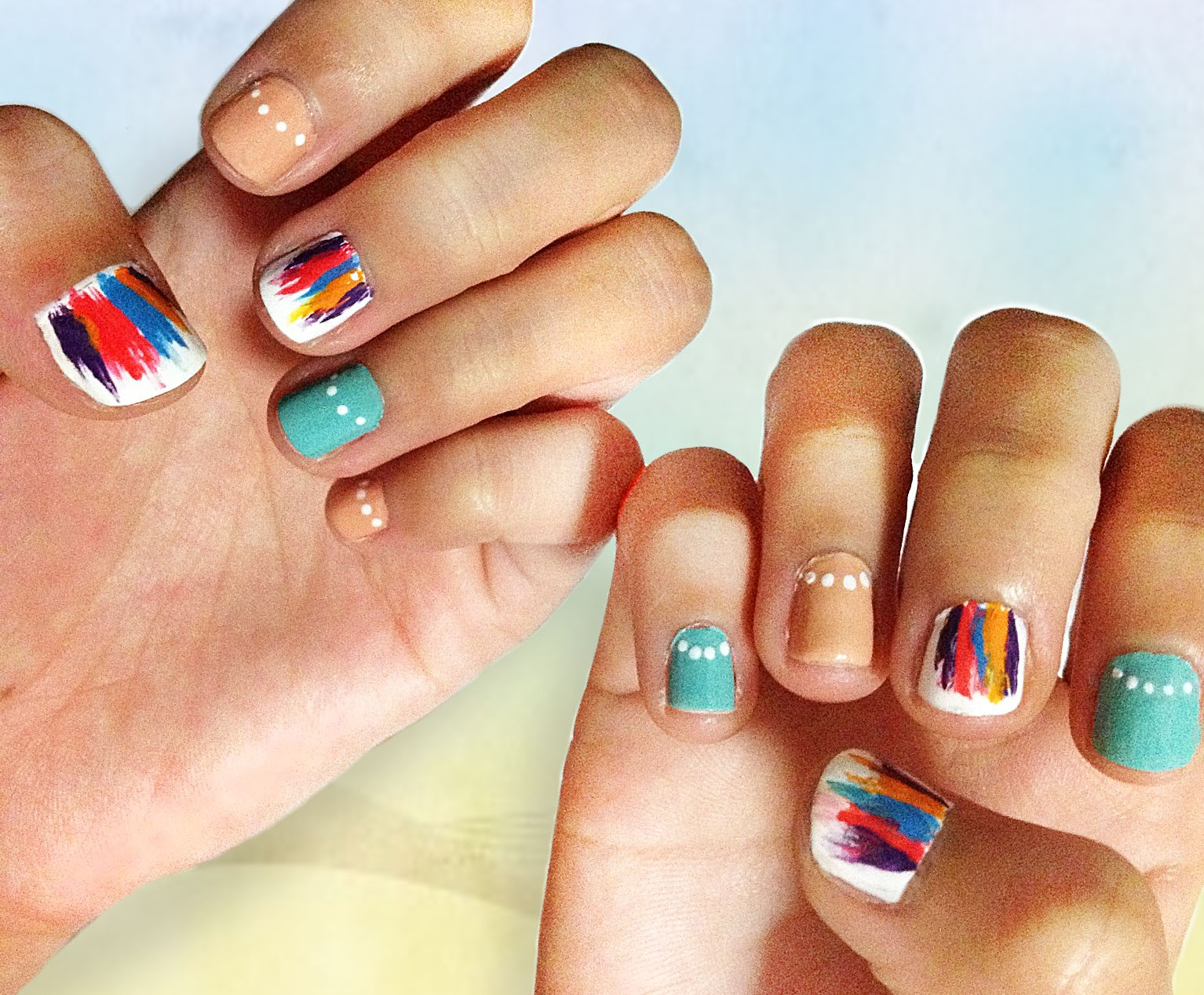 Rainbow Nail Art For Eid