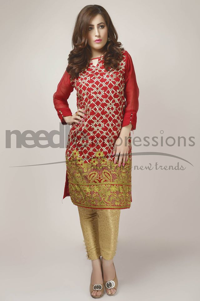 Needle Impressions Shimmery Gold Attire For Eid