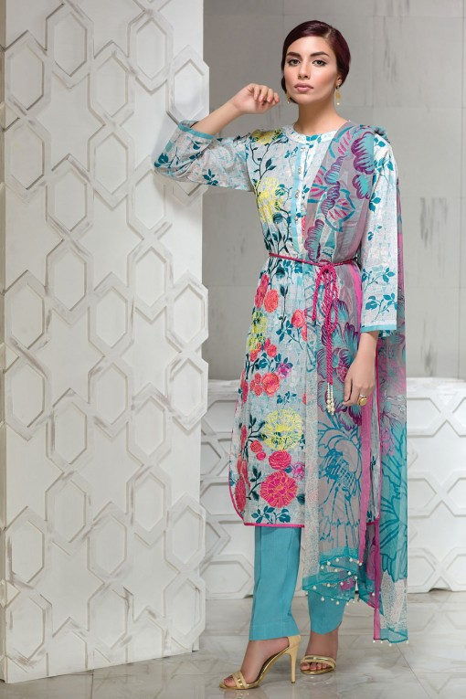 Sky Blue Eid Dress By Khaadi 2017