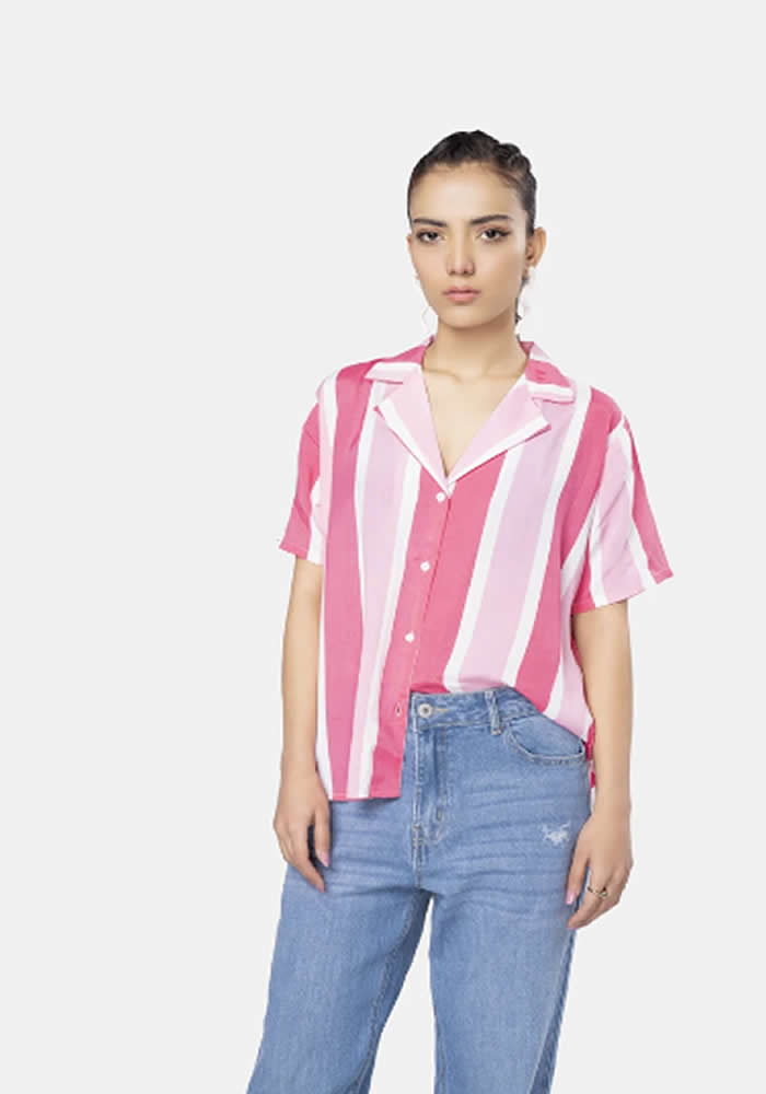 Striped pink and white shirt