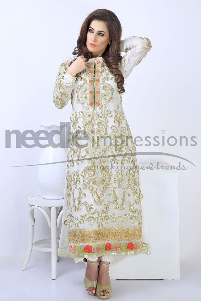 White divine chiffon formal dress by Needle impressions