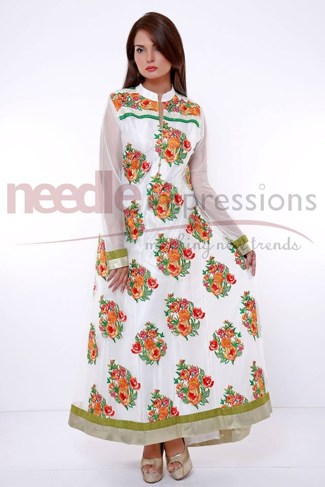 needle impressions embroidered frock style chiffon dresses