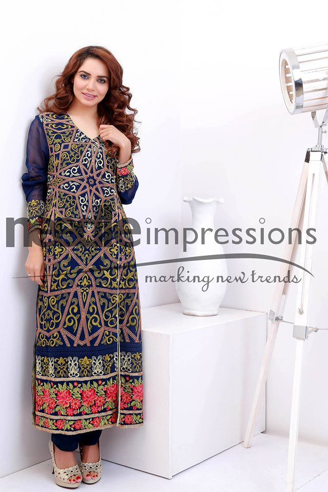 needle impressions embroidered party wear chiffon dresses