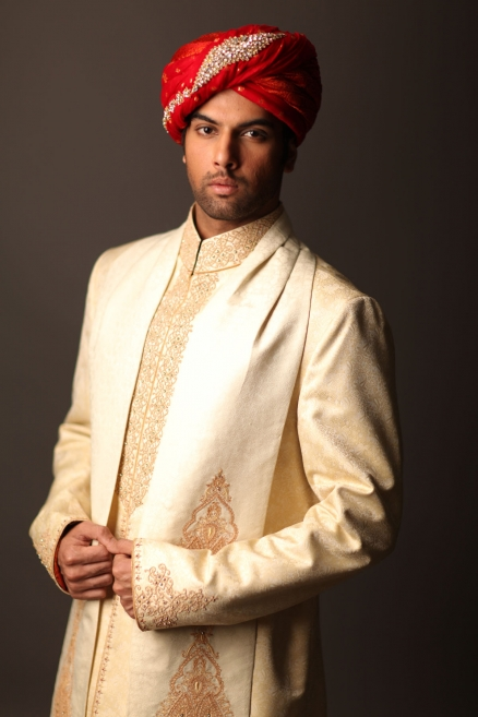 deepak perwani Off white Embroidered sherwani collection
