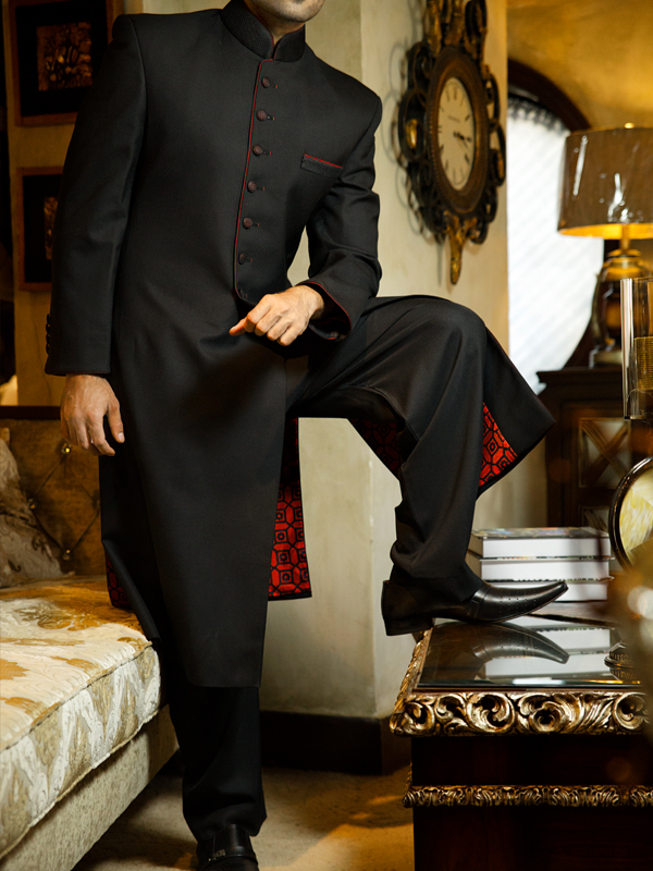 junaid jamshed Black sherwani collection