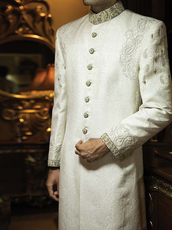 junaid jamshed White embroidered sherwani collection