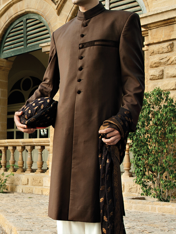 junaid jamshed Dark chocolate color sherwani collection