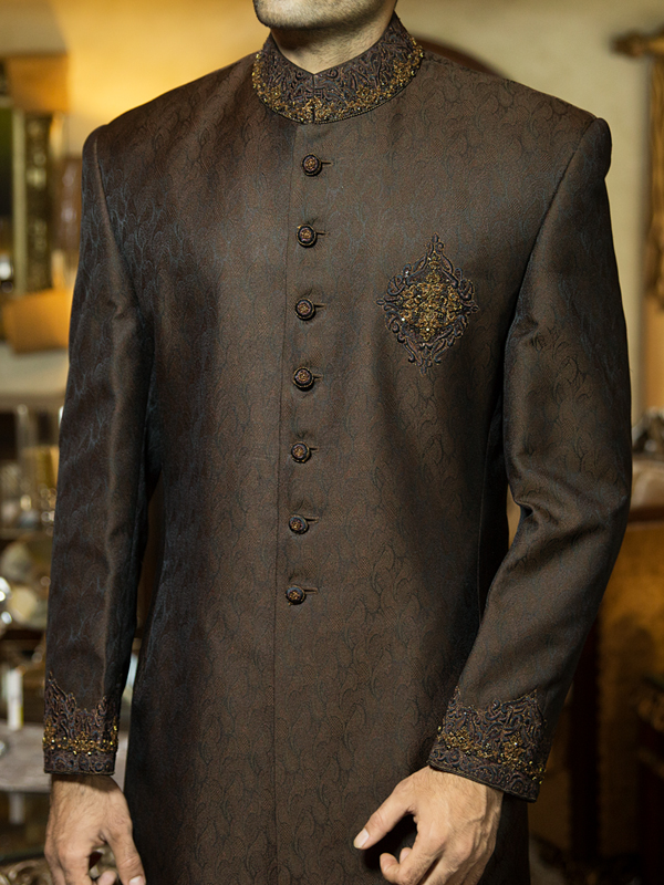 junaid jamshed Dark Brown Embroidered sherwani collection