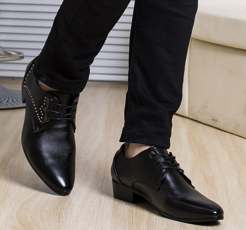 Casual Pure Black Lace Up Shoes for Men