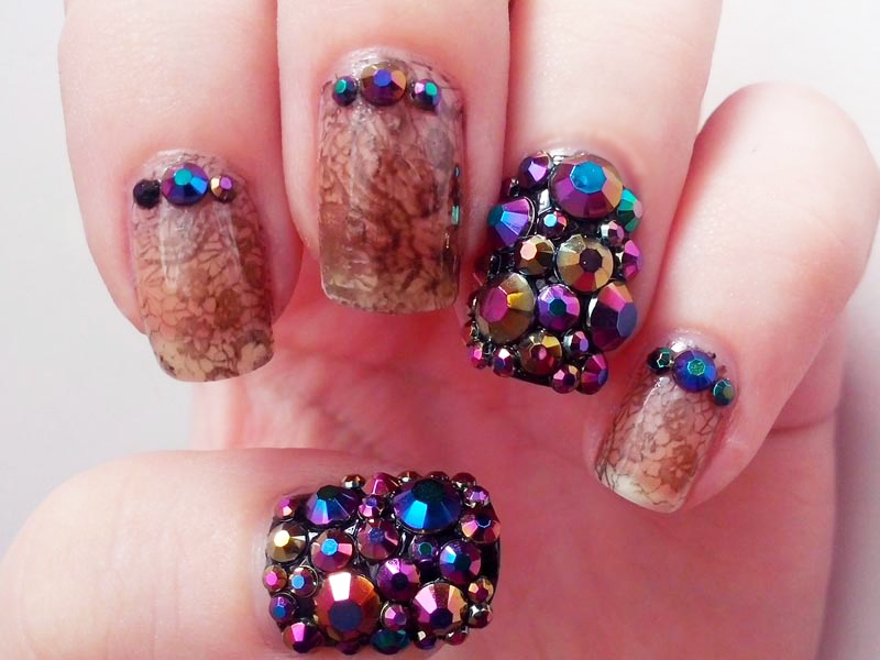Colorful Rhinestone Nail Art Designs 01