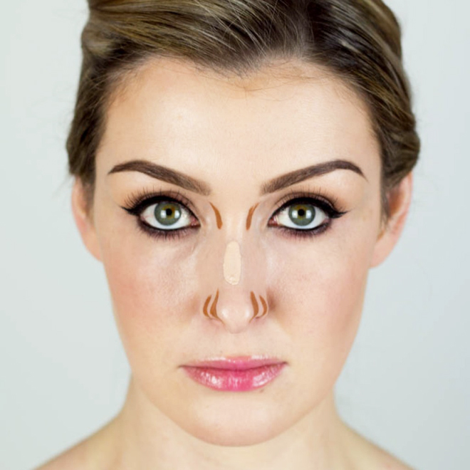 Draw an outward lines at the nostrils