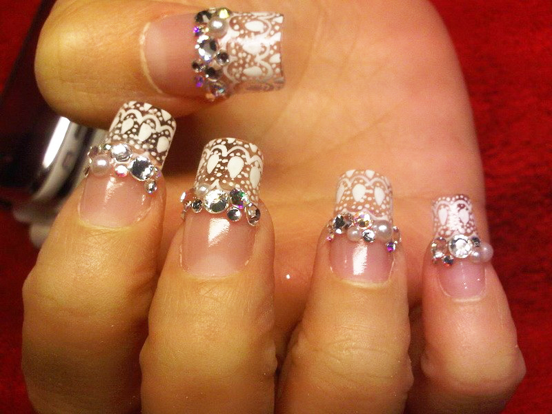 French Rhinestone Nail Art Designs 01