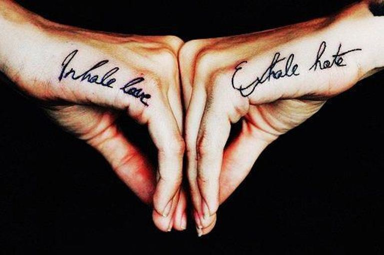 Words and letter couple matching tattoos 01