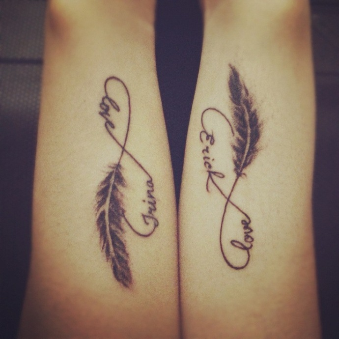 Words and letter couple matching tattoos 05