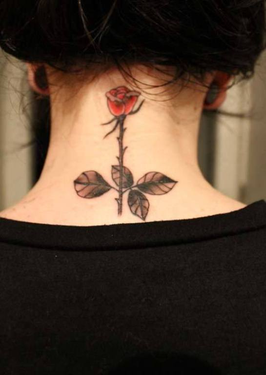 small rose tattoo design on back neck